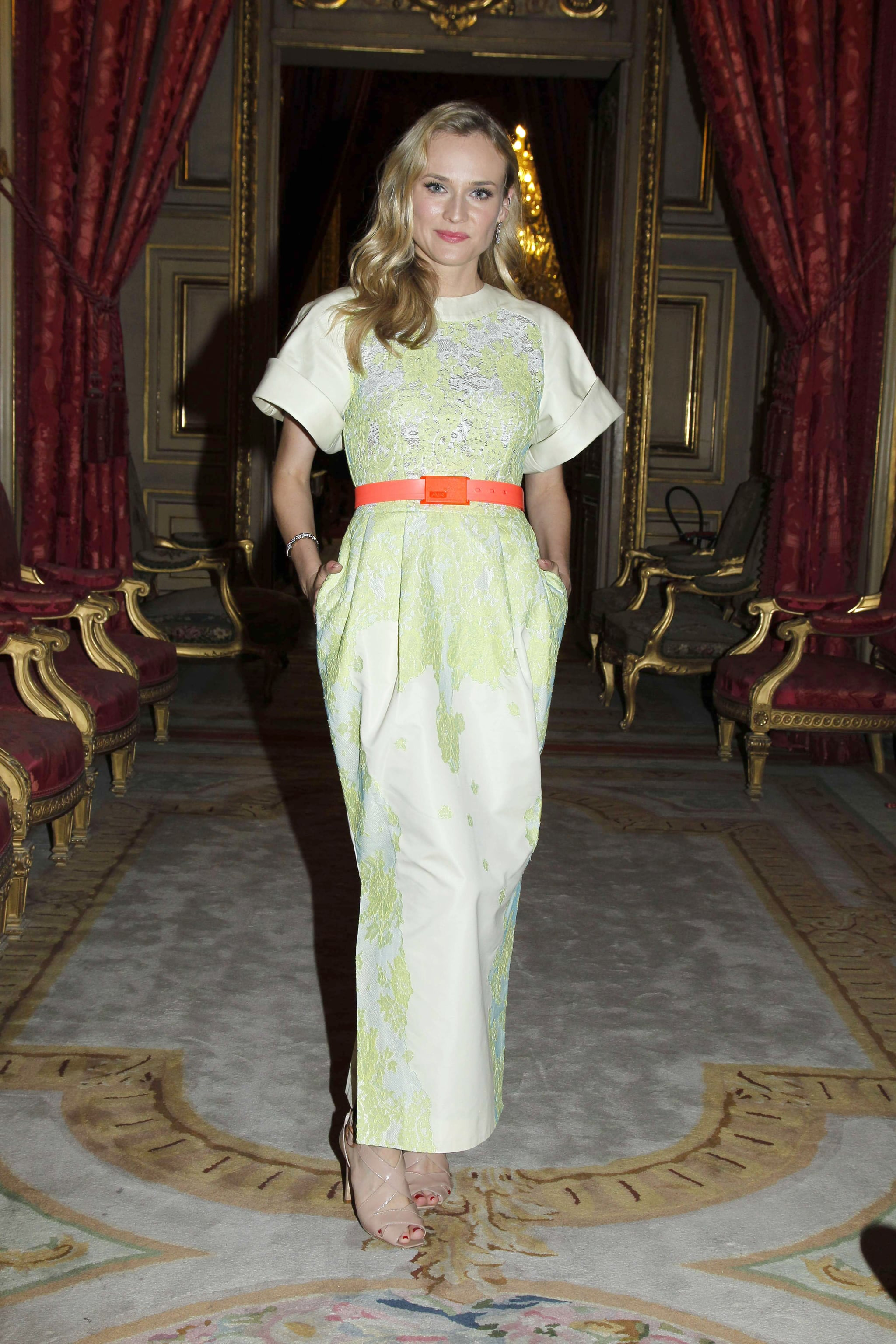 She brightened up an Alessandra Rich dress with a neon belt for the Liaisons Au Louvre II Charity Gala in Paris in 2011.