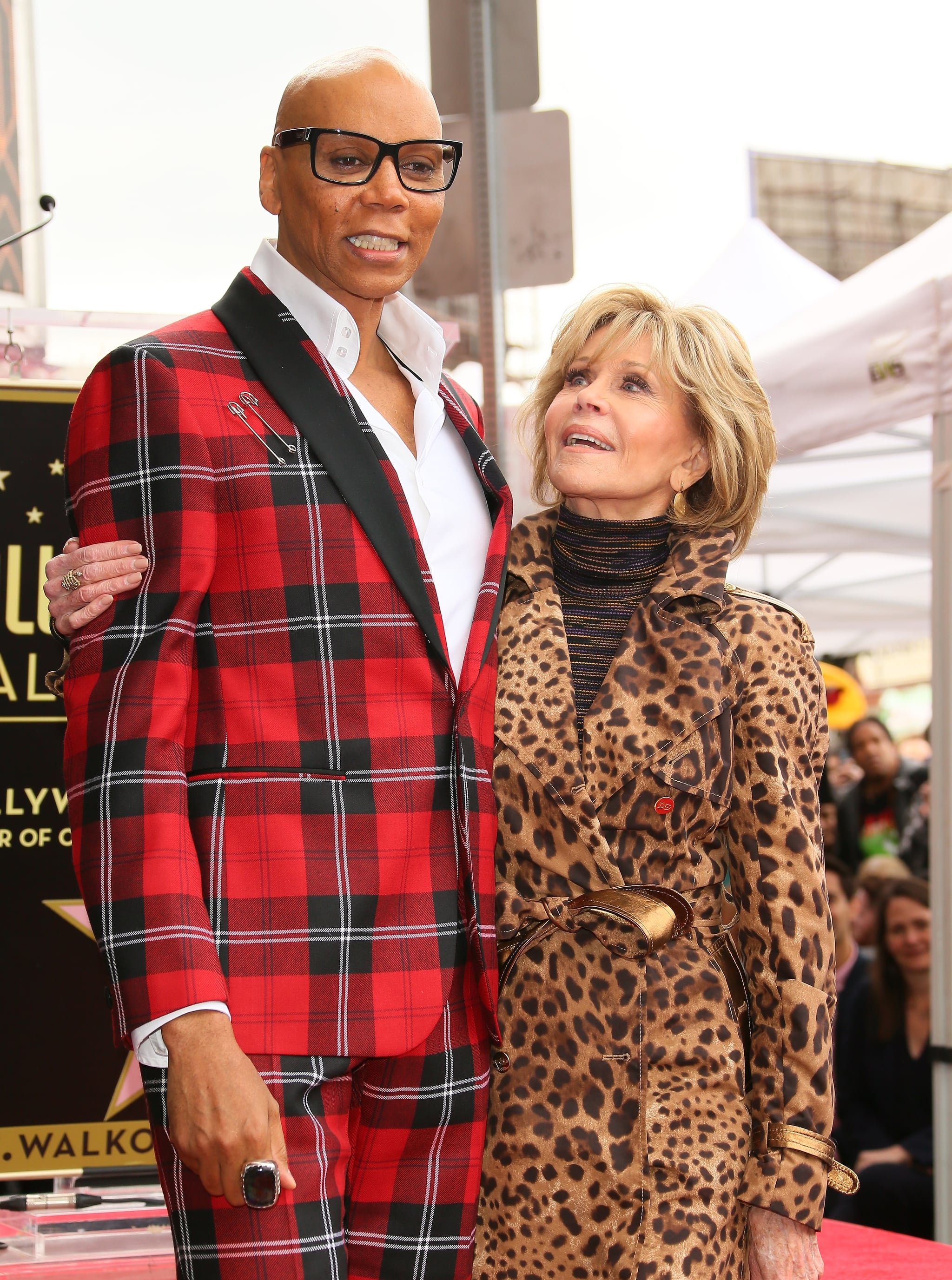 HOLLYWOOD, CA - MARCH 16: RuPaul and Jane Fonda attend a ceremony honoring him with a Star on The Hollywood Walk Of Fame on March 16, 2018 in Hollywood, California. (Photo by JB Lacroix/WireImage)