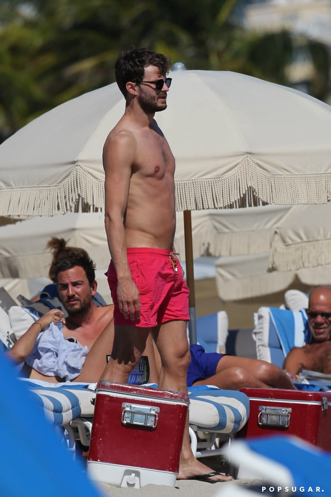 Fifty Shades of Grey's Jamie Dornan channeled a shirtless Christian Grey while vacationing in Miami in January.