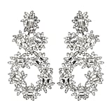 Kenneth Jay Lane Silver Crystal Flower Earrings