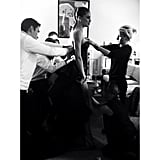 Doutzen Kroes got the finishing touches in her Theyskens' Theory gown. Source: Instagram user theory__