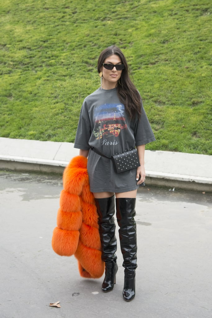 Wear One Over a Long T-Shirt and Thigh-High Boots