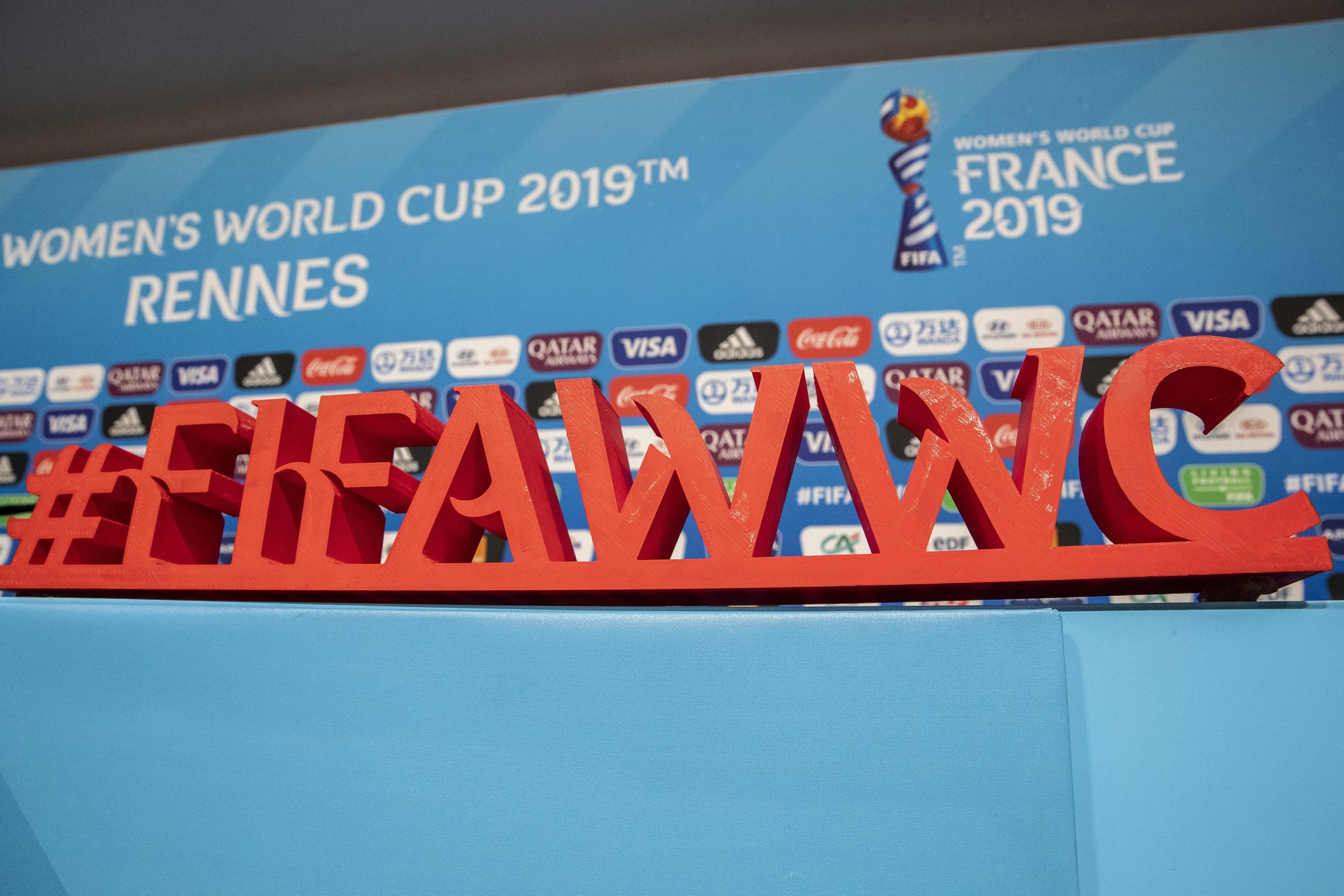 RENNES, FRANCE - JUNE 07: World cup logo is seen at a press conference prior the match against China on June 07, 2019 in Rennes, France. Germany will play their first match against China on June 08, 2019.  (Photo by Maja Hitij/Getty Images)