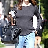 Jennifer Garner sported a long-sleeved shirt.