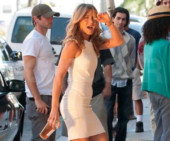 Slide Photo of Jennifer Aniston on the Just Go With It Set
