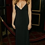 Jennifer hit the NYC premiere of Troy in a basic black maxi dress with a down-to-there neckline in 2004.