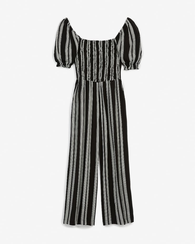 Express  Striped Smocked Puff-Sleeve Jumpsuit