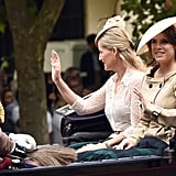 Eugenie travelled in an open carriage with her uncle, Prince Edward, and Sophie, Countess of Wessex during Trooping the Colour in 2014.