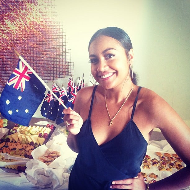 Jessica Mauboy waved the Australian flag. Source: Instagram user jessicamauboy1