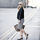 A Curve-Hugging Striped Dress, a Leather Jacket, and Lace-Up Flats