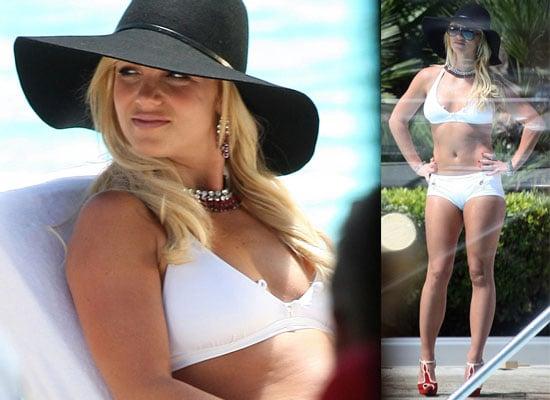 Britney Spears In A White Bikini Filming For MTV