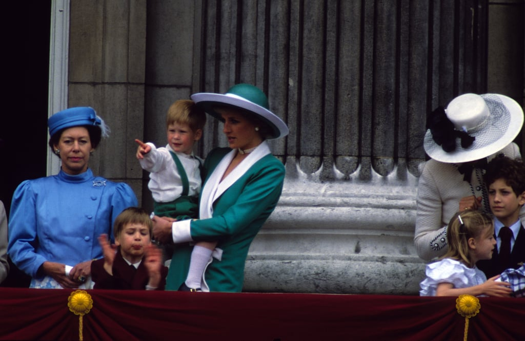 Diana With Harry and William at the Trooping the Colour, 1988
