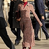 But, Landed in Paris Rocking Burgundy Boots From Her Own Collection