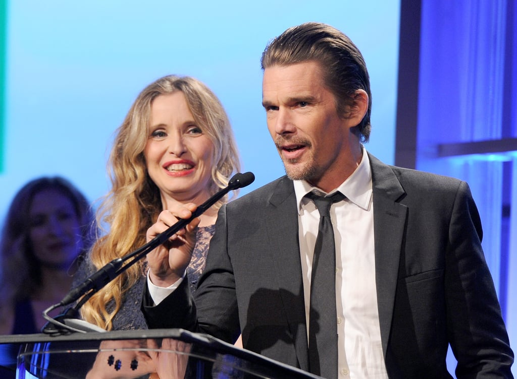 Ethan Hawke and his Before Midnight collaborator Julie Delpy accepted the screenwriter award.