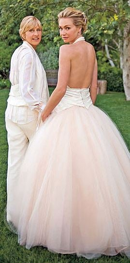 Celebrity wedding dresses and the designers who created for Portia de rossi wedding dress