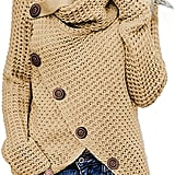 Asvivid Chunky Button Wrap Sweater