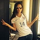 Lily Aldridge flashed peace signs while rocking a Team USA jersey. Source: Instagram user llilyaldridge