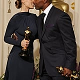 Best actor Jamie Foxx and best actress Hilary Swank got a little frisky in 2005.
