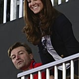 Kate Middleton smiled in the stands at the women's hockey semifinal at the Olympics.