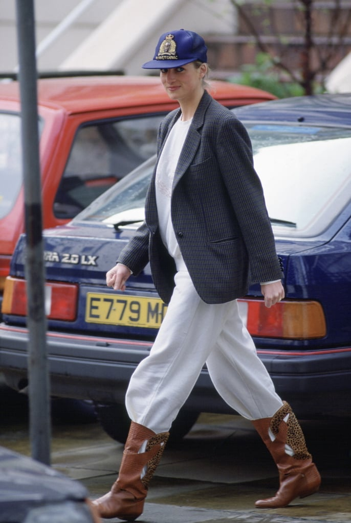 Princess Diana Wearing Jeans Tucked Into Her Sweats in 1989