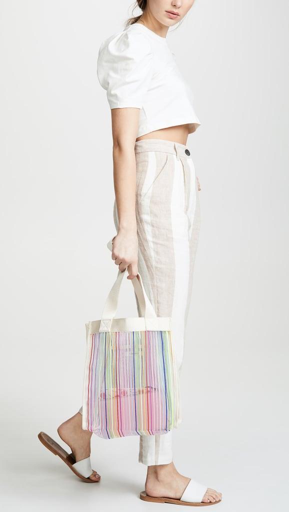 Madewell The Netting Tote Bag in Rainbow Stripe