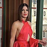 Sandra's Dress Revealed a Hint of Side Boob