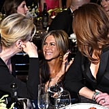Jennifer Aniston chatted with Meryl Streep and Julia Roberts.
