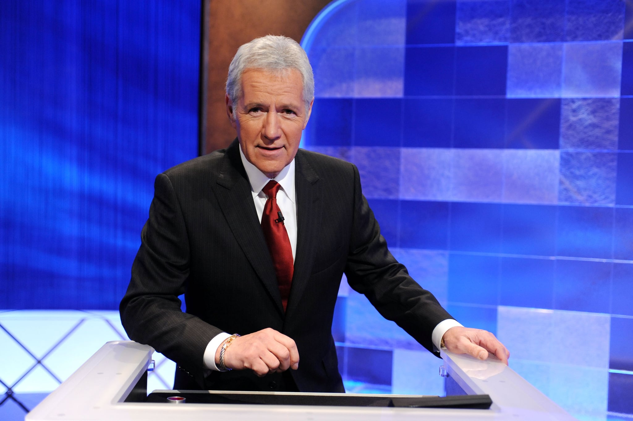 CULVER CITY, CA - APRIL 17:  Game show host Alex Trebek poses on the set of the