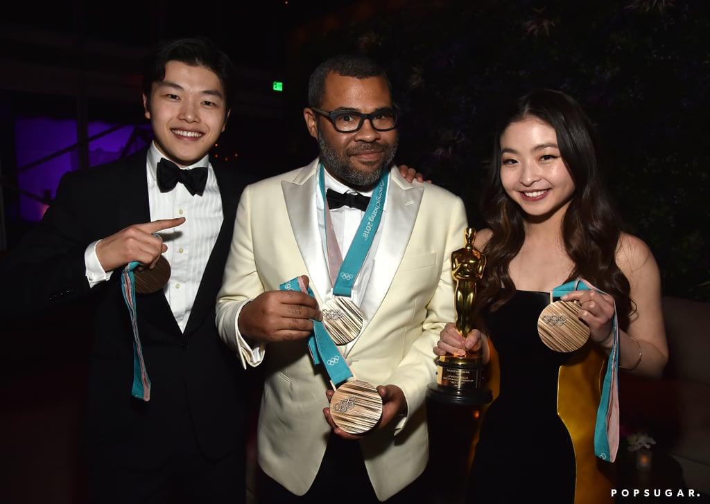 Pictured: Alex Shibutani, Jordan Peele, and Maia Shibutani