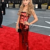 A fiery mix of red and orange sparkles made up Ariana Grande's dazzling look, including Tacori earrings.