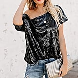 One-Shoulder Sequined Top