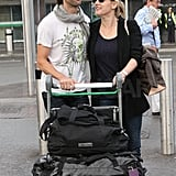 Kate Winslet and Ned Rocknroll touched down in London on Wednesday.