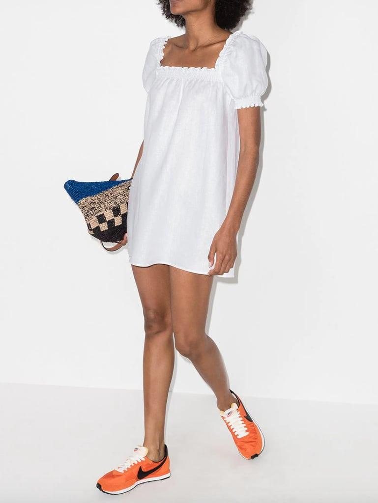 Reformation Square-Neck Linen Minidress