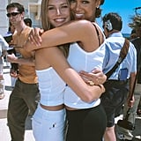 A fresh-faced Heidi Klum and Tyra Banks hugged during the festival in 2000.