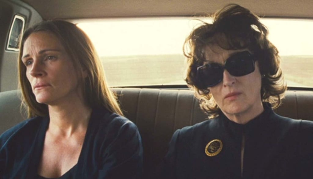 "August: Osage County Things get ugly and uncomfortable in this portrait of an Oklahoma family who has to come together when the patriarch dies, but every minute is absorbing. Somehow Meryl Streep manages to top herself as a pill-popping mother who has a nasty (or ""truth-telling,"" according to her) side that makes you cringe . . . and sometimes smirk. Julia Roberts is at the top of her game too as a daughter who's bitter, but in pain. The rest of the cast is nothing to slouch at, either; Margo Martindale, Julianne Nicholson, and Chris Cooper also shine."