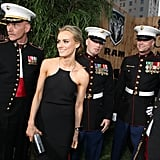 Taylor Schilling was flanked by U.S. Marines at The Lucky One premiere in LA.