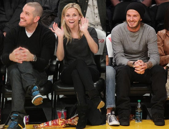 Pictures of Reese Witherspoon, Jim Toth and David Beckham at the Lakers Game