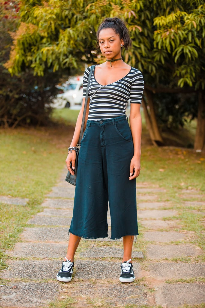 With a Striped Top and Cropped, Wide-Leg Jeans