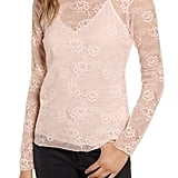Chelsea28 Sheer Lace Mockneck Top