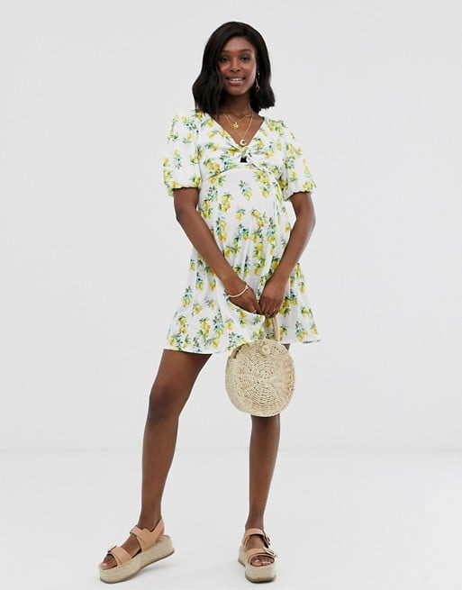 ASOS DESIGN Maternity mini textured tea dress with knot front in lemon print | ASOS