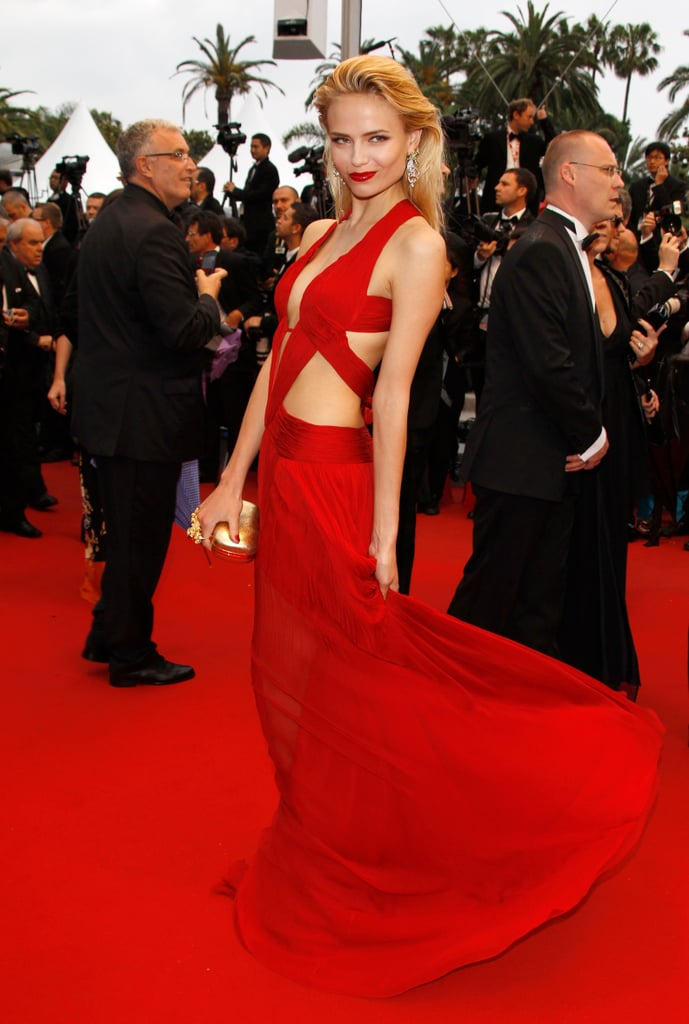 Natasha Poly's fire-engine red Roberto Cavalli dress dropped jaws at the 2012 festival.