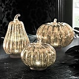 Mercury Glass LED Pumpkins Set of Three