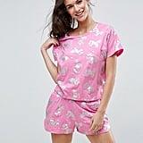 ASOS Foil Unicorn Tee & Short Pajama Set