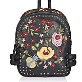 Topshop Leather Floral Embroidered Backpack
