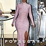 Kim Kardashian Pink Dress at Kylie Jenner's Skincare Party