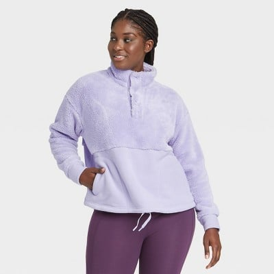 All in Motion Snap Front Cozy Sherpa Pullover Sweatshirt