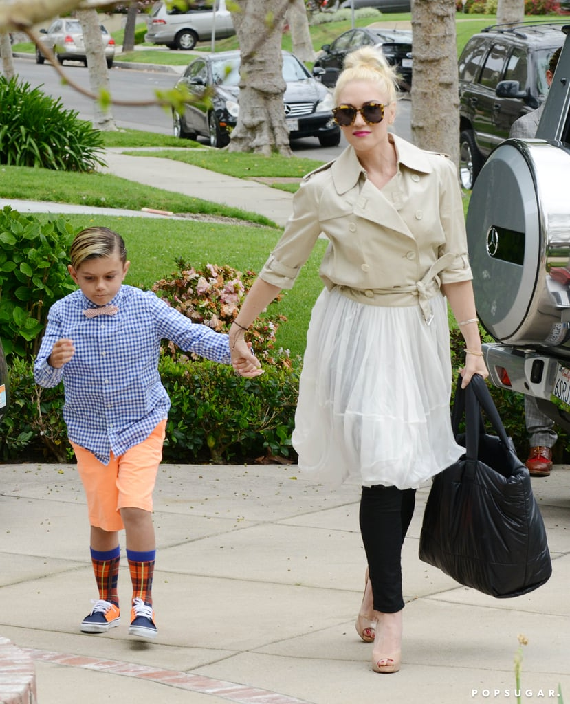 Gwen Stefani held hands with Kingston Rossdale on the way to visit her parents in LA.