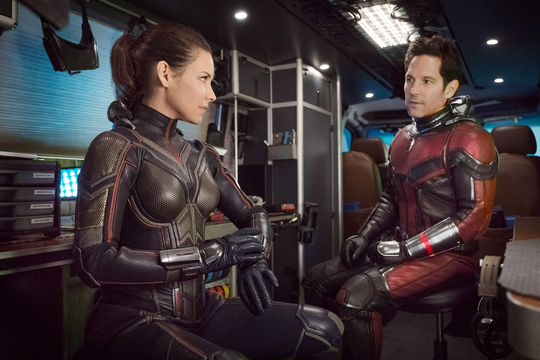 ANT-MAN AND THE WASP, from left, Evangeline Lilly as The Wasp, Paul Rudd as Ant-Man, 2018. ph: Ben Rothstein. Marvel/Walt Disney Studios Motion Pictures/courtesy Everett Collection