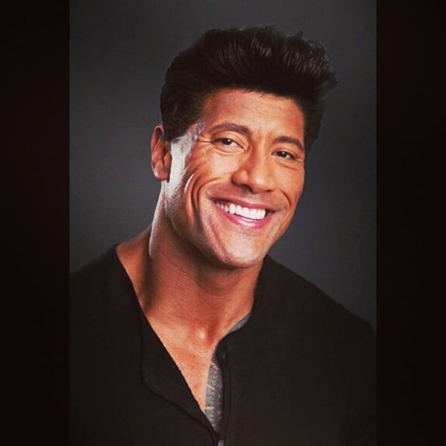 Here's The Rock with Bruno Mars's hair. Just because. Source: Instagram user therock
