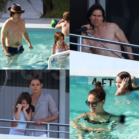 Tom Cruise Goes Shirtless For a Swim With Katie and Suri and Then Rocks Out on the Balcony of His Hotel